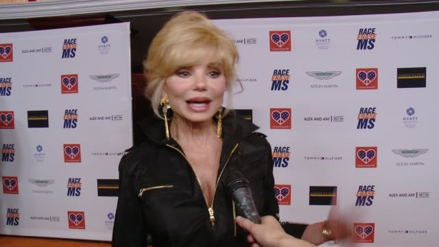 interview loni anderson on being a part of the night at the 22nd annual race to erase ms in los angeles ca - race to erase ms stock videos and b-roll footage