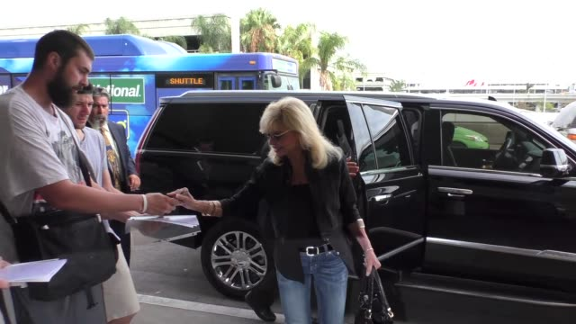 Loni Anderson with fans at Los Angeles International Airport at Celebrity Sightings in Los Angeles on August 12 2016 in Los Angeles California