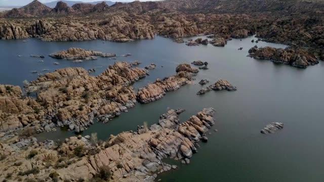 a look across watson lake and the beautiful granite dells in prescott arizona - prescott arizona stock videos & royalty-free footage