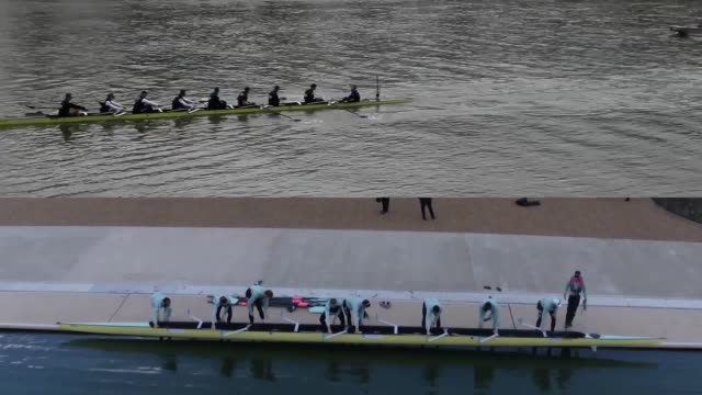a look ahead to the annual boat race as oxford take on cambridge in the battle on the thames - rowing stock videos & royalty-free footage