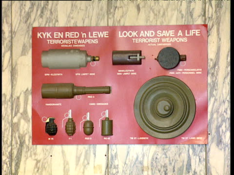 'look and save a life terrorist weapons' information poster from apartheid era south africa - poster stock videos & royalty-free footage