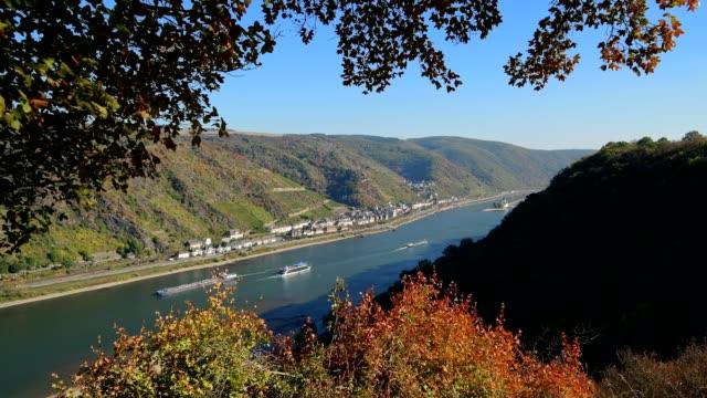 look at river rhine in autumn, oberwesel, middle rhine, rhine valley, rhein-lahn-district, rhineland-palatinate, germany - river rhine stock videos and b-roll footage