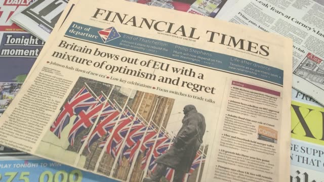 a look at the coverage of brexit on the front pages of uk national newspapers as britain enters its final day as a member of the european union - newspaper stock videos & royalty-free footage