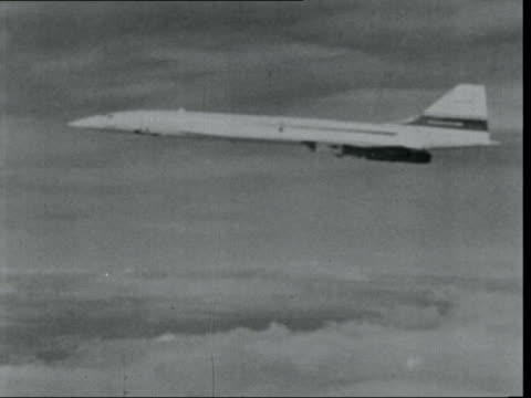 look at the state of the environment at the end of european conservation year; via bac lib in the air: ext concorde aircraft in flight - commercial aircraft stock videos & royalty-free footage