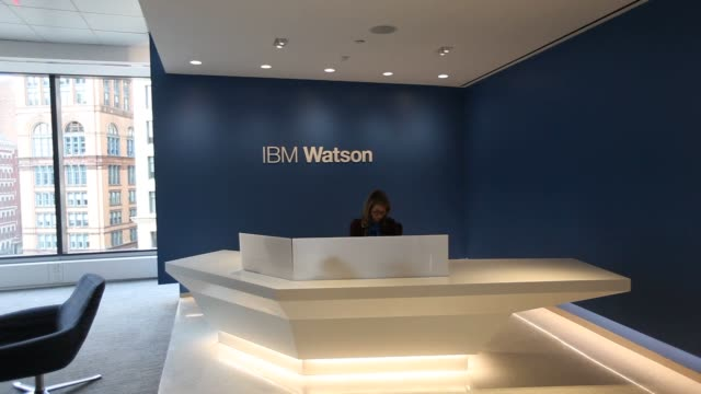 a look inside ibm watson groups new headquarters at 51 astor place in new york ny shots pan across the reception area of ibm watson groups... - base stock videos & royalty-free footage