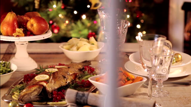 look on christmas dinner - evening meal stock videos and b-roll footage