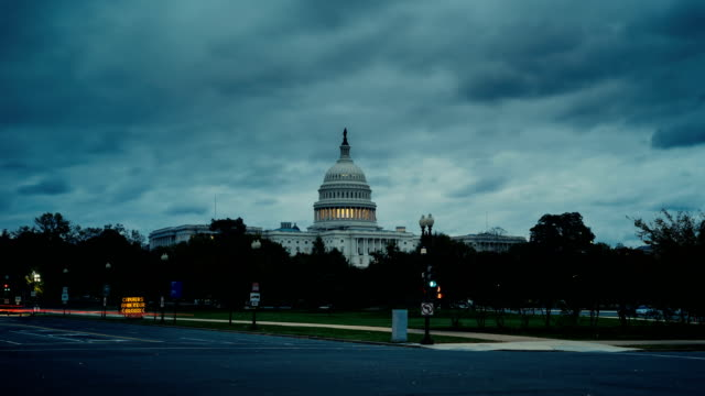 Looking along Pennsylvania Avenue towards the Capitol Building. Time Lapse