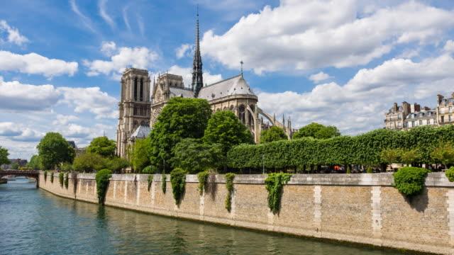 Looking at Cathedral Notre Dame de Paris on Ile de la Cite