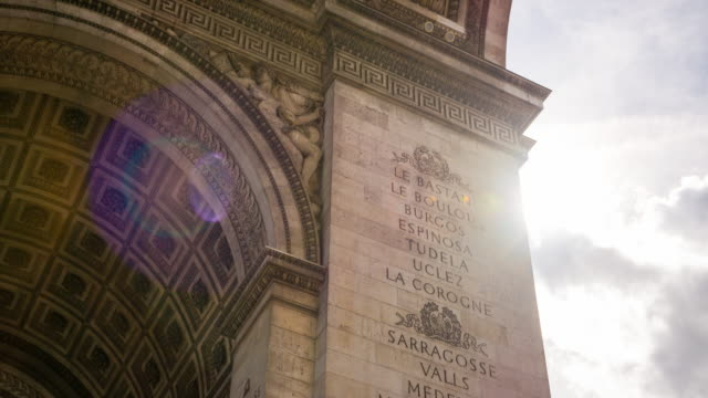 looking at engravements on facade of arch of triumph monument in paris - french revolution stock videos & royalty-free footage