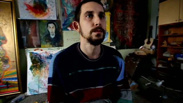 looking at his paintings - atelier tent stock videos and b-roll footage