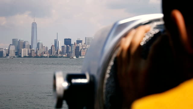 looking at new york skyline - binoculars stock videos & royalty-free footage