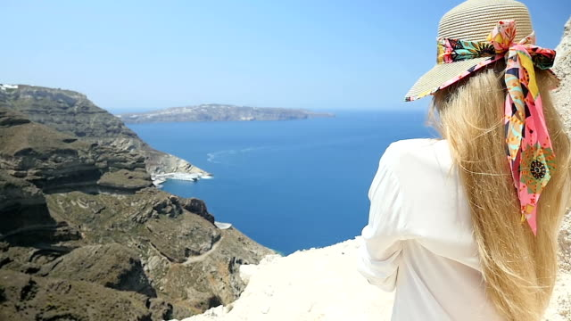 looking at sea & sunny day - santorini stock videos and b-roll footage
