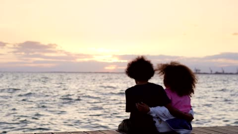 looking at sunset together - brother stock videos & royalty-free footage