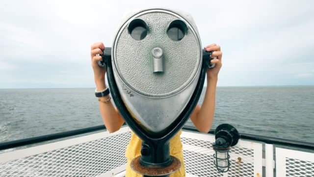 looking at view from coin operated binoculars - binoculars stock videos & royalty-free footage