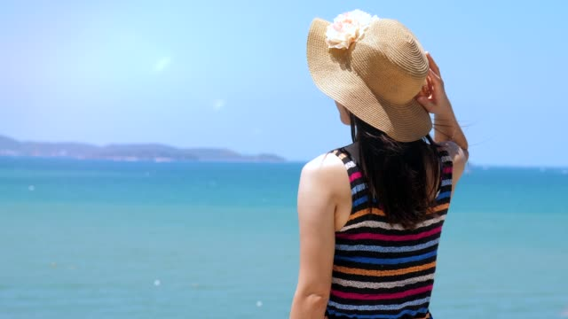 looking at view sunny summer blue ocean - only mid adult women stock videos and b-roll footage