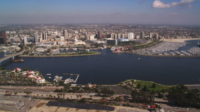 looking back at long beach, california. shot in 2010. - artbeats stock videos & royalty-free footage