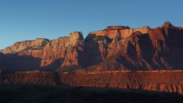 looking back at outside zion national park - drone shot - zion national park stock videos & royalty-free footage