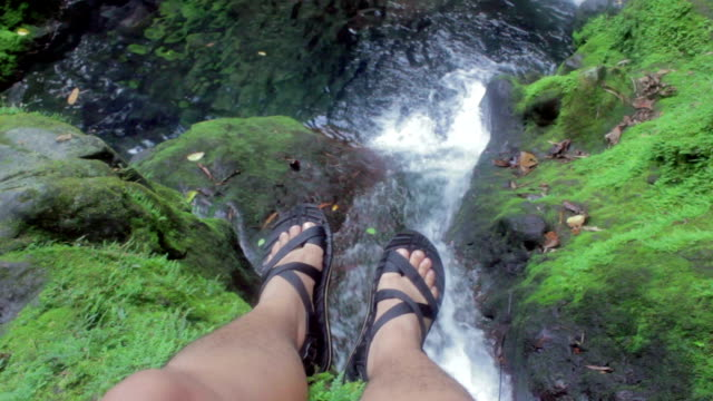 looking below a waterfall - human leg stock videos & royalty-free footage