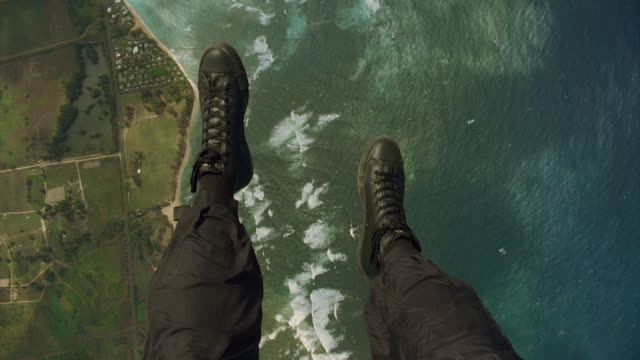 looking down at boots under parachute - wearable camera stock videos & royalty-free footage