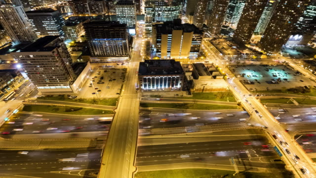 Looking Down at Traffic on the Kennedy Expressway in Downtown Chicago at Night