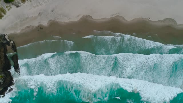 looking down at waves on beach. - teal stock videos & royalty-free footage