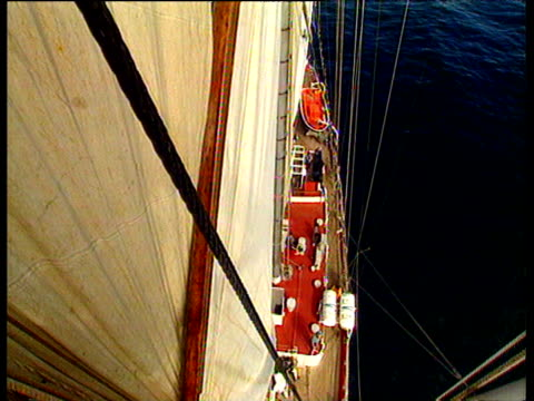 looking down from top of head mast onto deck of sailing ship moving in the wind sails flapping - menschlicher arm stock-videos und b-roll-filmmaterial