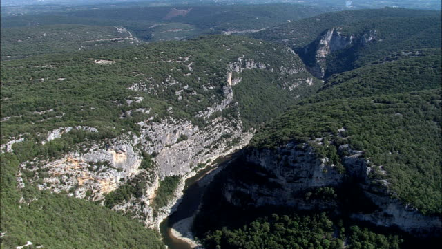 looking down into ardeche gorge  - aerial view - languedoc-roussillon, gard, arrondissement de nîmes, france - ravine stock videos & royalty-free footage