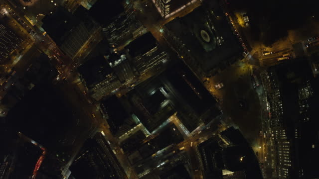 looking down into new york financial district at night. shot in november 2011. - artbeats stock-videos und b-roll-filmmaterial