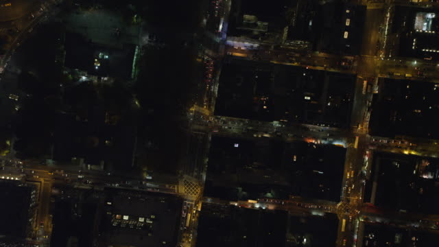 Looking down into the New York Financial District at night. Shot in November 2011.