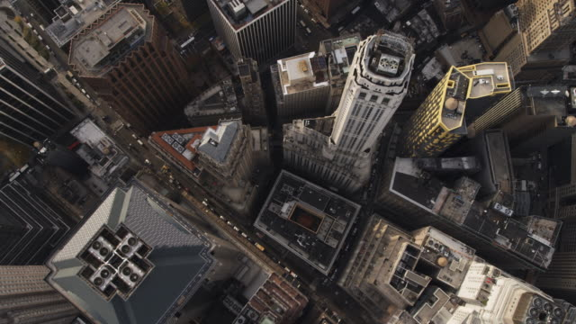 Looking down on Financial District in New York City. Shot in 2011.