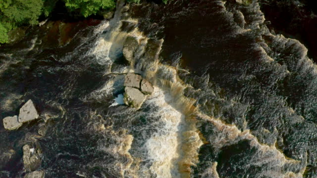 looking down on main waterfall, aysgarth, north yorkshire, england - waterfall stock videos & royalty-free footage