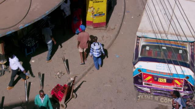 looking down on pedestrians ronald ngala street, nairobi, kenya, africa - nairobi stock videos and b-roll footage