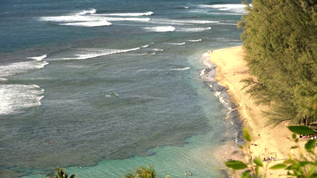 looking down on sandy coast of kauai island - butte rocky outcrop stock videos & royalty-free footage