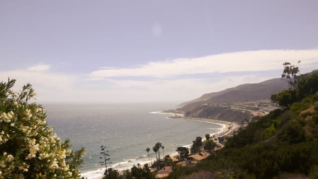 looking down onto pacific coast highway in malibu - malibu stock videos & royalty-free footage