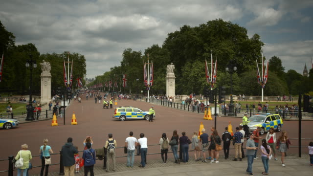 looking down the mall from buckingham palace - police force stock videos and b-roll footage