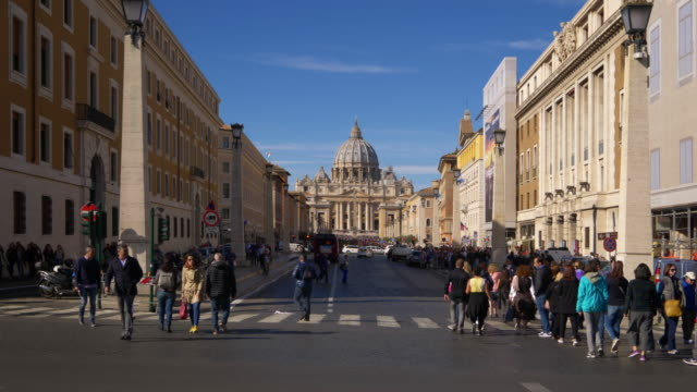 Looking down Via Della Conciliazone toward St. Peter's Basilica in Rome, Italy