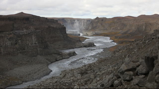 Looking downstream towards Dettifoss waterfall, the largest in Europe by volume, with a drop of 47 metres and an average discharge of 200 metres cubed per second. it is 100 metres wide and takes meltwater in the river Jokulsa a Fjollum from the Vatnajokull