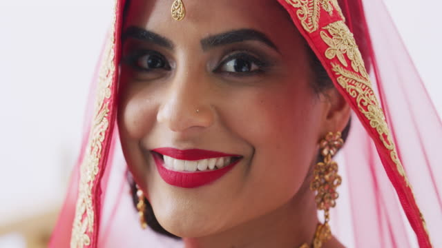 looking every bit the blushing bride - indian subcontinent ethnicity stock videos & royalty-free footage