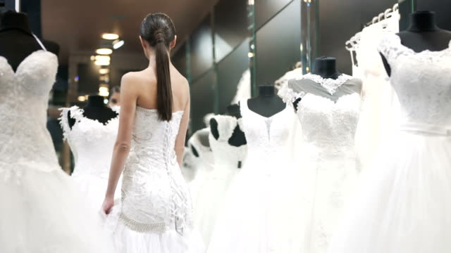 looking for the perfect dress - wedding dress stock videos and b-roll footage