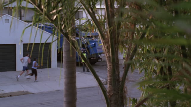 pov looking from second-floor window through leafy tree branches as garbage truck empties dumpster and dark sedan drives past / santa monica, california, united states - garbage truck stock videos & royalty-free footage