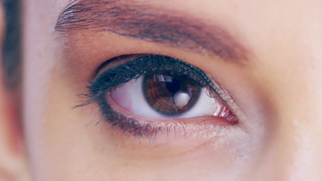 vídeos de stock e filmes b-roll de looking into the eye of beauty - olhos castanhos