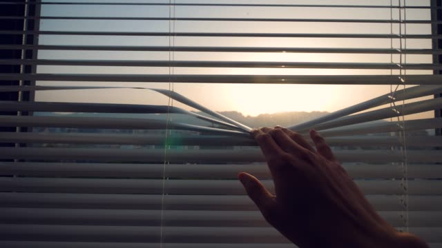 looking out from the window blinds - blinds stock videos & royalty-free footage