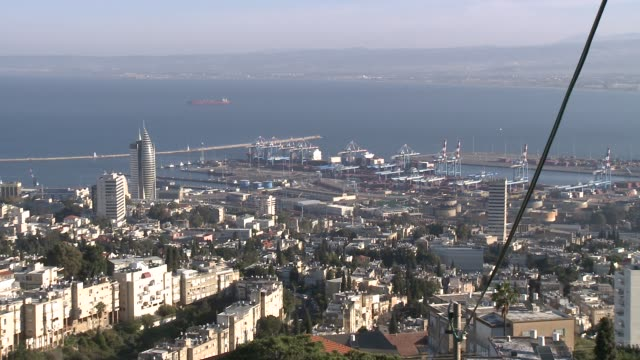 looking over city centre and bay of haifa, israel - haifa video stock e b–roll