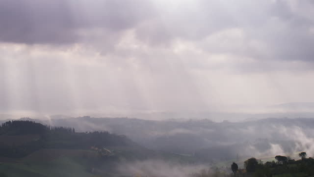 looking over valley 1 - nebbia video stock e b–roll