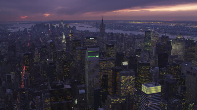 Looking south from above Midtown Manhattan at dusk. Shot in 2011.