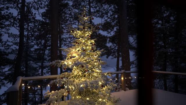stockvideo's en b-roll-footage met looking through window at illuminated outdoor christmas tree, on snowy evening. - cadeau