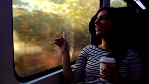 looking through window on a train ride - bus stock videos & royalty-free footage