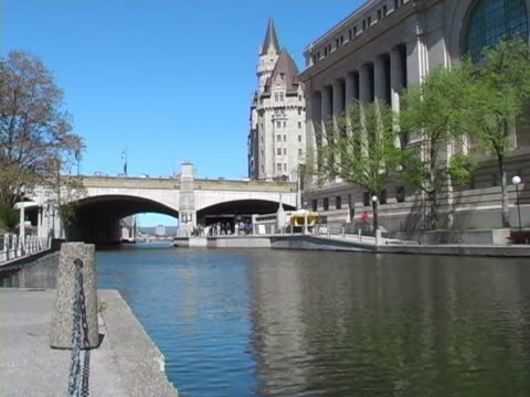 looking to chateau laurier - rideau canal stock videos & royalty-free footage