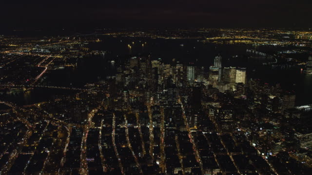 Looking toward Financial District and Upper New York Bay at night. Shot in November 2011.