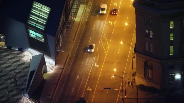 Looking toward Lake Ontario in Toronto's Financial District at night